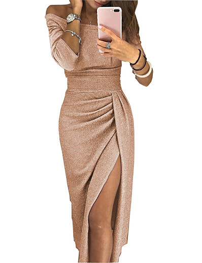 cheap Bodycon Dresses-Women's Sheath Dress Maxi long Dress - Long Sleeve Solid Color Split Ruched Fall Off Shoulder Sexy Party Slim 2020 Black Red Blushing Pink Light Purple Fuchsia Gold Silver Brown Beige Gray S M L XL