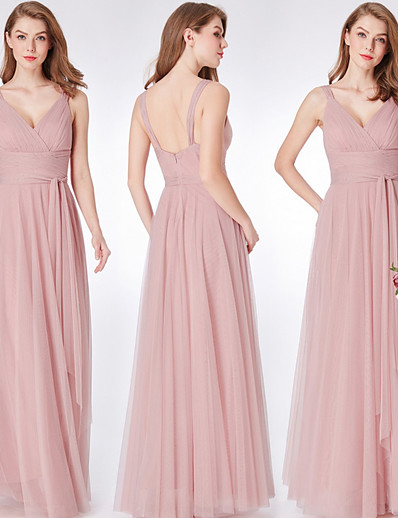 cheap Bridesmaid Dresses-Sheath / Column V Neck Floor Length Tulle Bridesmaid Dress with Ruching