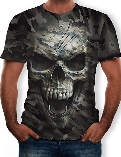 cheap Men's Tops-Men's Graphic 3D Skull Camo / Camouflage T shirt Print Tops Round Neck Army Green