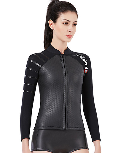 cheap Surfing, Diving & Snorkeling-Dive&Sail Women's Wetsuit Top 3mm SCR Neoprene Top Thermal Warm Long Sleeve Front Zip - Diving Patchwork Autumn / Fall Spring Summer / Winter / Stretchy