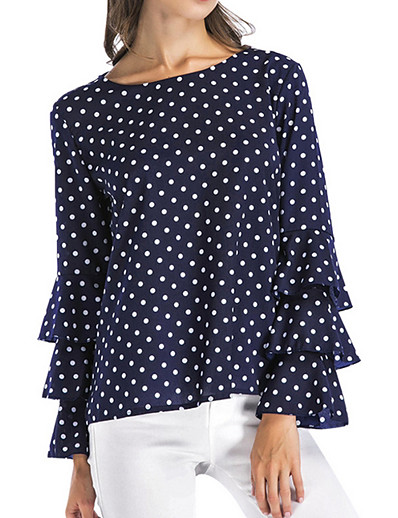 cheap TOPS-Women's Plus Size Shirt - Polka Dot Black