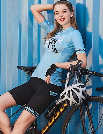 cheap SPORTSWEAR-SANTIC Men's Women's Couple's Cycling Shorts Bike Shorts Padded Shorts / Chamois Bottoms UV Resistant Quick Dry Reflective Strips Sports Spandex Black Mountain Bike MTB Road Bike Cycling Clothing