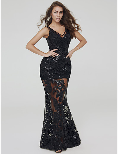 e4cf12f5e15 ADOR Evening Dress Mermaid   Trumpet V Wire Floor Length Lace Two Piece    See Through Dress with Appliques
