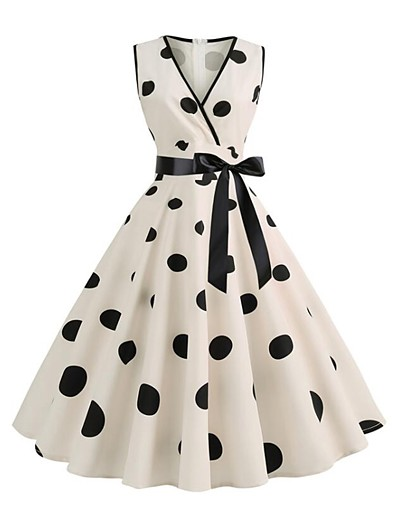 cheap Vintage Dresses-Women's 2020 Street chic Swing Dress - Polka Dot Print V Neck Spring & Summer Blushing Pink Blue Beige S M L XL