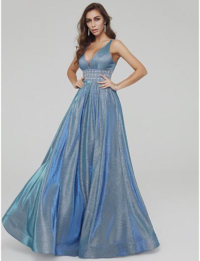9cfd589062 ADOR Evening Dress A-Line V Neck Floor Length Taffeta / Sequined Sparkle & Shine  Dress with Beading / Crystal Brooch