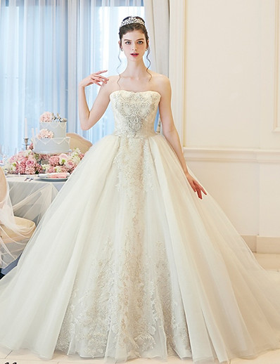 2e16469526cd ADOR Disney Style Ball Gown Bateau Neck Chapel Train Lace / Tulle  Made-To-Measure Wedding Dresses with Beading / Embroidery / Lace