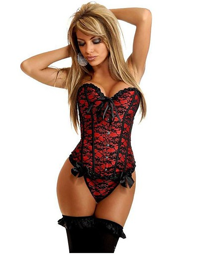 cheap AT HOME-Women's Cotton Lace Up Overbust Corset - Stitching Lace / Embroidered, Bow / Basic Blue Red Blushing Pink S M L