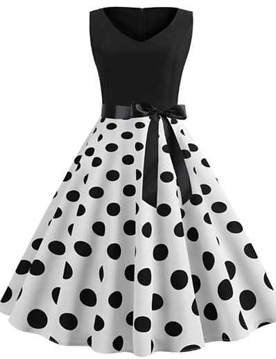 cheap Vintage Dresses-Women's 2020 Vintage Elegant Sheath Dress - Polka Dot Lace up Spring & Summer Black White S M L XL