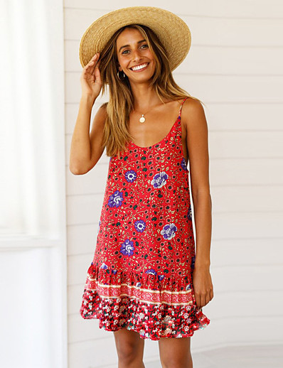 cheap Summer Dresses & Boho-Women's Boho A Line Dress - Geometric Print Blue Green Red S M L