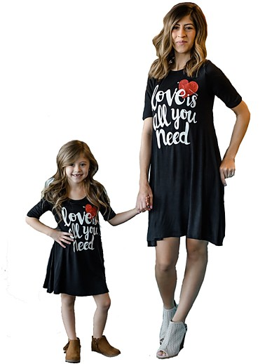 cheap Family Matching Outfits-Mommy and Me Active Basic Geometric Letter Print Short Sleeve Regular Knee-length Regular Cotton Dress Black