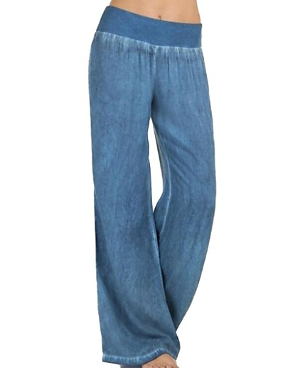 cheap Clothing-Women's Basic Plus Size Wide Leg Pants - Solid Colored Blue Black XXXL XXXXL XXXXXL