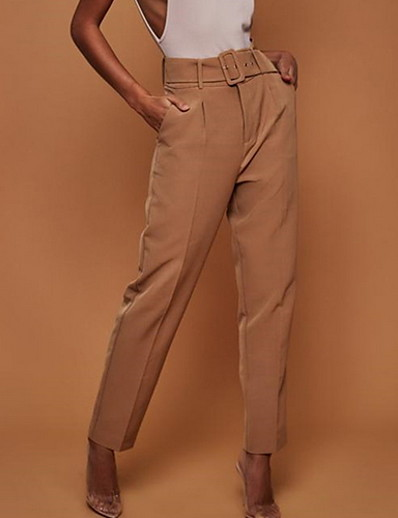 cheap CLOTHING-Women's Basic Suits Pants - Solid Colored High Waist Yellow Fuchsia Khaki S M L
