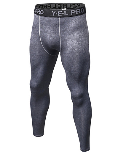 cheap Running, Jogging & Walking-21Grams Men's Compression Pants Running Tights Gym Leggings Grey Black / Green White+Gray Sports Spandex Compression Clothing Tights Leggings Fitness Gym Workout Exercise Plus Size Activewear Quick