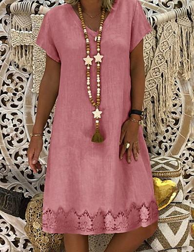 cheap 2021 Trends-Women's Shift Dress Knee Length Dress Yellow Blushing Pink Khaki Light Blue Short Sleeve Summer V Neck Hot Casual S M L XL XXL 3XL 4XL
