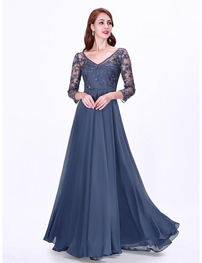 cheap WEDDING-A-Line V Neck Floor Length Chiffon Bridesmaid Dress with Appliques