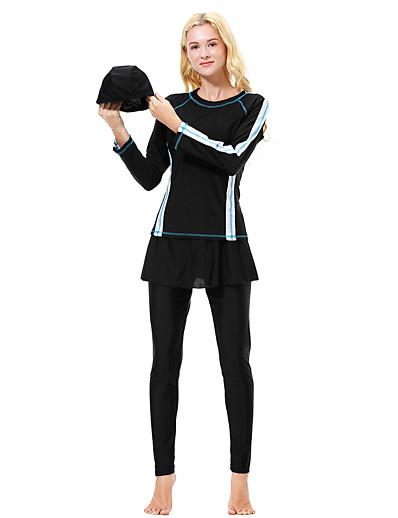 cheap SWIMSUIT-Women's Basic Black Navy Blue Gray Underwire Burkini Swimwear Swimsuit - Color Block S M L Black