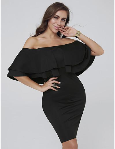 904faf0fbb ADOR Cocktail Dress Sheath   Column Off Shoulder Short   Mini Jersey Dress  with Cascading Ruffles