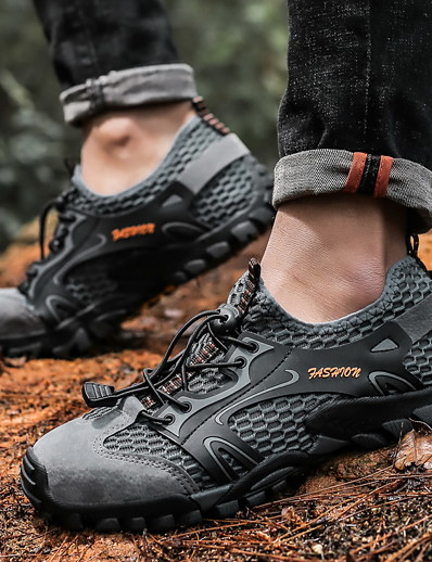 cheap SPORTSWEAR-Unisex Hiking Shoes Wearable Comfortable Hiking Outdoor Exercise Walking Spring, Fall, Winter, Summer Black Grey Khaki Brown