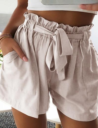 cheap WOMEN-Women's Basic Shorts Pants - Solid Colored Beige Gray Khaki M L XL