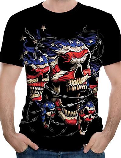 cheap Men's 3D-Men's T shirt 3D Skull Print Short Sleeve Daily Tops Black