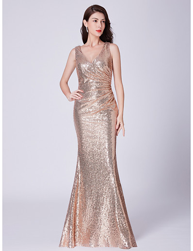 cheap Bridesmaid Dresses-Mermaid / Trumpet V Neck Floor Length Sequined Bridesmaid Dress with Sequin