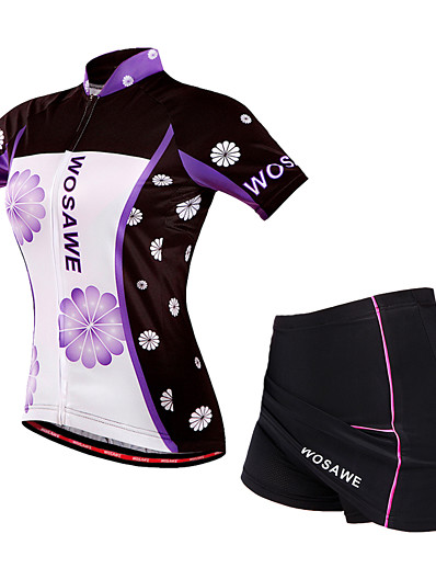 cheap Cycling-WOSAWE Women's Short Sleeve Cycling Jersey with Skirt Violet Floral Botanical Bike Clothing Suit Breathable 3D Pad Sports Polyester Elastane Mesh Mountain Bike MTB Road Bike Cycling Clothing Apparel
