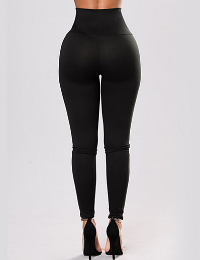 cheap Leggings-Women's Basic Legging - Solid Colored, Criss Cross Mid Waist Black S M L / Slim