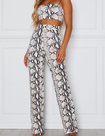 cheap CLOTHING-Women's Sexy Loose Pants - Snakeskin High Waist Blue Dark Gray Light gray S M L