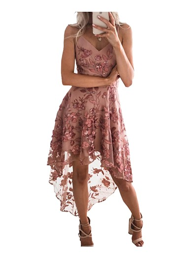 cheap Dresses-Women's Strap Dress Knee Length Dress Blushing Pink Sleeveless Dusty Rose Print Lace Spring & Summer V Neck Elegant Romantic Sexy Party Lace Belt Not Included 2021 S M L XL