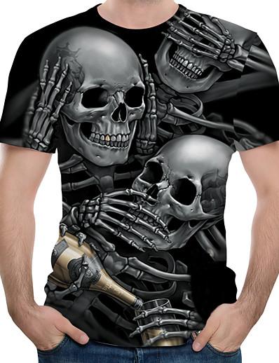 رخيصةأون 3D للرجال-رجالي بلايز تي شيرت قميص الرسم 3D جماجم طباعة كم قصير فضفاض قمم أساسي مصمم كبير وطويل القامة رقبة دائرية أسود