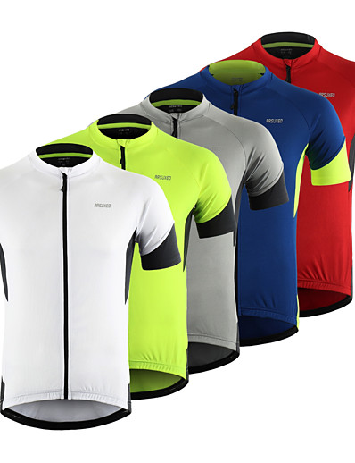 cheap Cycling-Arsuxeo Men's Short Sleeve Cycling Jersey Red Grey Green Patchwork Bike Top Mountain Bike MTB Road Bike Cycling Breathable Moisture Wicking Reflective Strips Sports Clothing Apparel / Stretchy