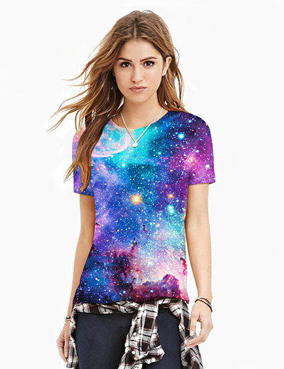 cheap TOPS-Women's T-shirt - Galaxy / 3D / Graphic Print Purple