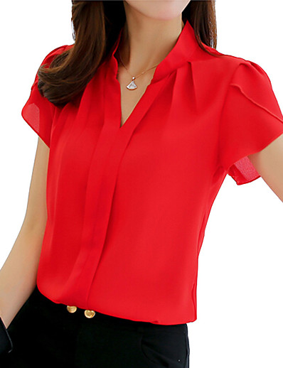 cheap TOPS-Women's Daily Wear Shirt - Solid Colored Shirt Collar Red