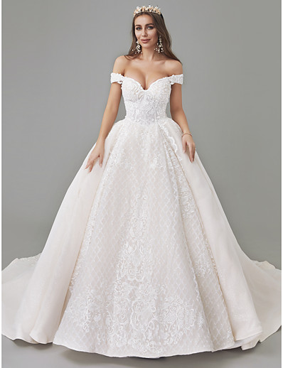 9d6e1f427af6 ADOR A-Line Off Shoulder Court Train Lace / Tulle Made-To-Measure Wedding  Dresses with Appliques / Pattern / Print / See-Through
