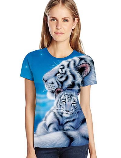cheap TOPS-Women's Plus Size Loose T-shirt - 3D / Animal / Cartoon Print Light Blue