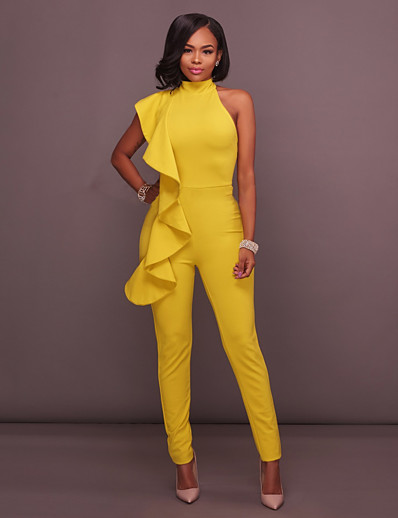 cheap Jumpsuits & Rompers-Women's Basic Halter Neck White Black Yellow Jumpsuit Solid Colored Backless