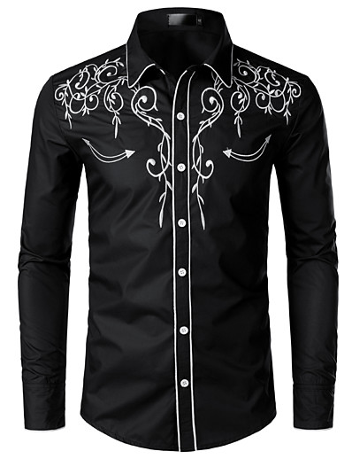 cheap Men's Clothing Sale-Men's EU / US Size Shirt - Solid Colored Embroidered Classic Collar Black