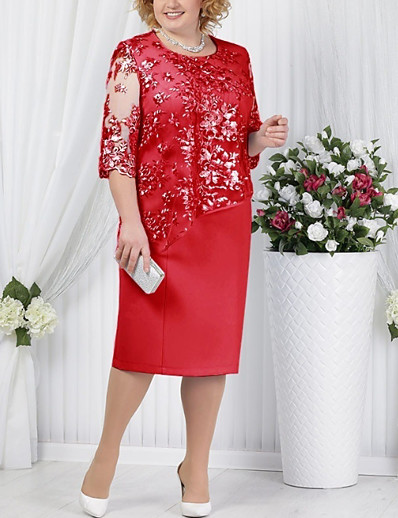 cheap Plus Size Dresses-Women's Plus Size Red Blue Dress For Mother / Mom Spring Cocktail Party Going out T Shirt Solid Color Paisley Lace Formal Style S M