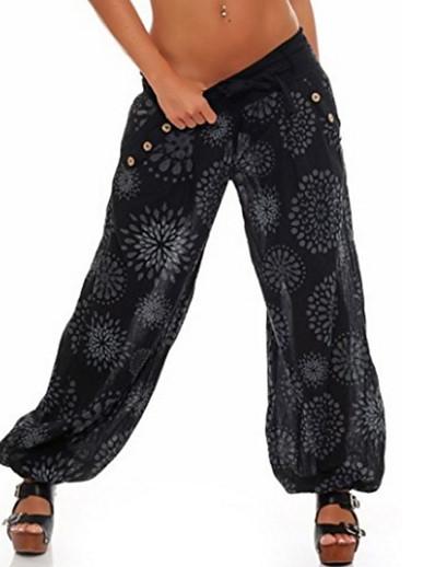 abordables Pantalons et Jupes Femme-Femme basique Grandes Tailles Ample Usage quotidien Culotte Bouffante Pantalon Fleurie Fleur Noir Bleu Vert Claire / Hiver