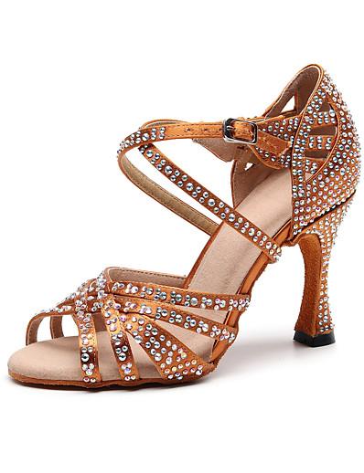 cheap Pumps & Heels-Women's Dance Shoes Silk Latin Shoes Crystal / Rhinestone Heel Slim High Heel Customizable Black / Brown / Performance