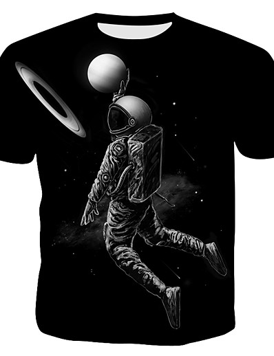 cheap Men's 3D-Men's T shirt Graphic Print Short Sleeve Sports Outdoor Tops Punk & Gothic Exaggerated Black