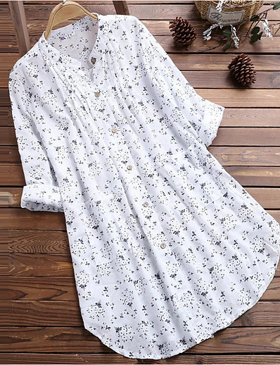 cheap TOPS-Women's Plus Size Shirt - Polka Dot Print White