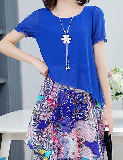 cheap DRESSES-Women's Chiffon Swing Dress Yellow Light Blue Royal Blue XXXL XXXXL XXXXXL