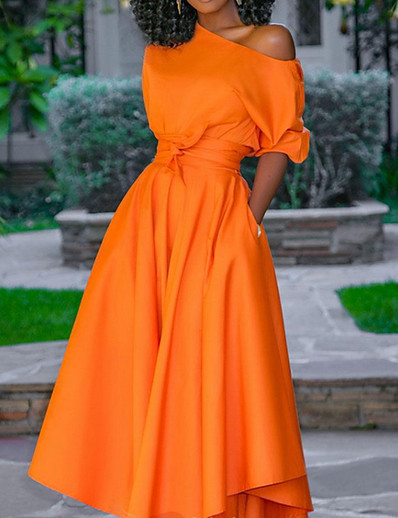 cheap Vintage Dresses-Women's Maxi Swing Dress One Shoulder Orange M L XL XXL