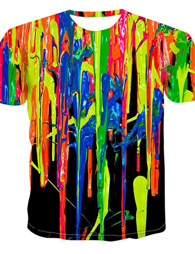 رخيصةأون 3D للرجال-رجالي تي شيرت قميص الرسم محاكاة طباعة قمم رقبة دائرية التقزح اللوني