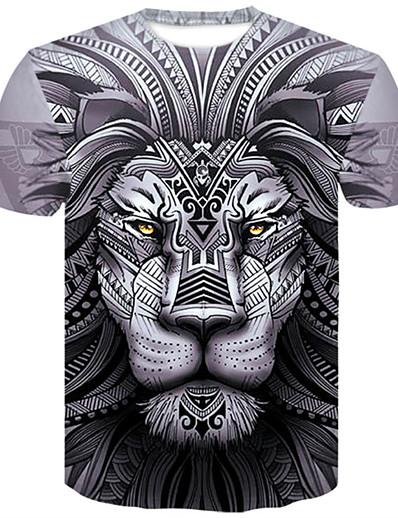 abordables Hommes 3D-Homme T shirt Graphique 3D Animal Grandes Tailles Hauts Gris