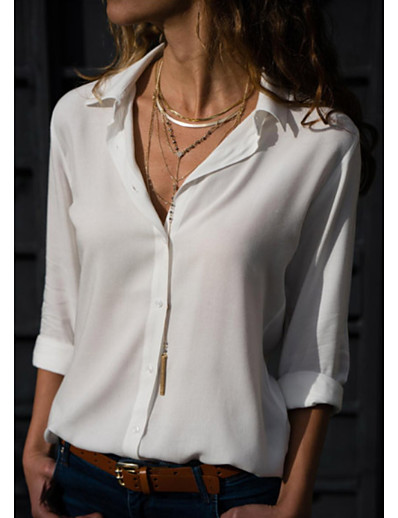 cheap TOPS-Women's Blouse Shirt Solid Colored Long Sleeve Shirt Collar Tops Basic Top White Black Blue