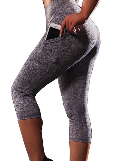 cheap Exercise, Fitness & Yoga-Women's High Waist Yoga Pants Capri Leggings Butt Lift Moisture Wicking Black Grey Running Dance Fitness Sports Activewear High Elasticity Skinny