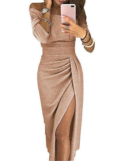 cheap Party Dresses-Women's Bodycon Midi Dress - Long Sleeve Solid Color Pleated Patchwork Asymmetric Spring & Summer Off Shoulder Sexy Cocktail Party New Year Going out Off Shoulder Black Red Blushing Pink Gold Green