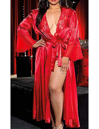 cheap Pajamas-Women's Lace / Long Plus Size Sexy Robes / Satin & Silk Nightwear Solid Colored White Black Red XL XXL XXXL / Deep V